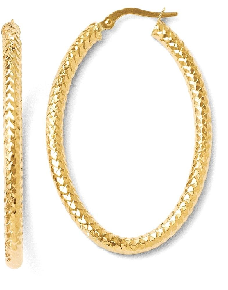 ICE CARATS 14k Yellow Gold Foreverlite Textured Oval Hoop Earrings Ear Hoops Set Fine Jewelry Gift Set For Women Heart