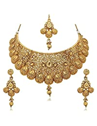 I Jewels Gold Plated Kundan Choker Necklace Set For Women (M4083FL)
