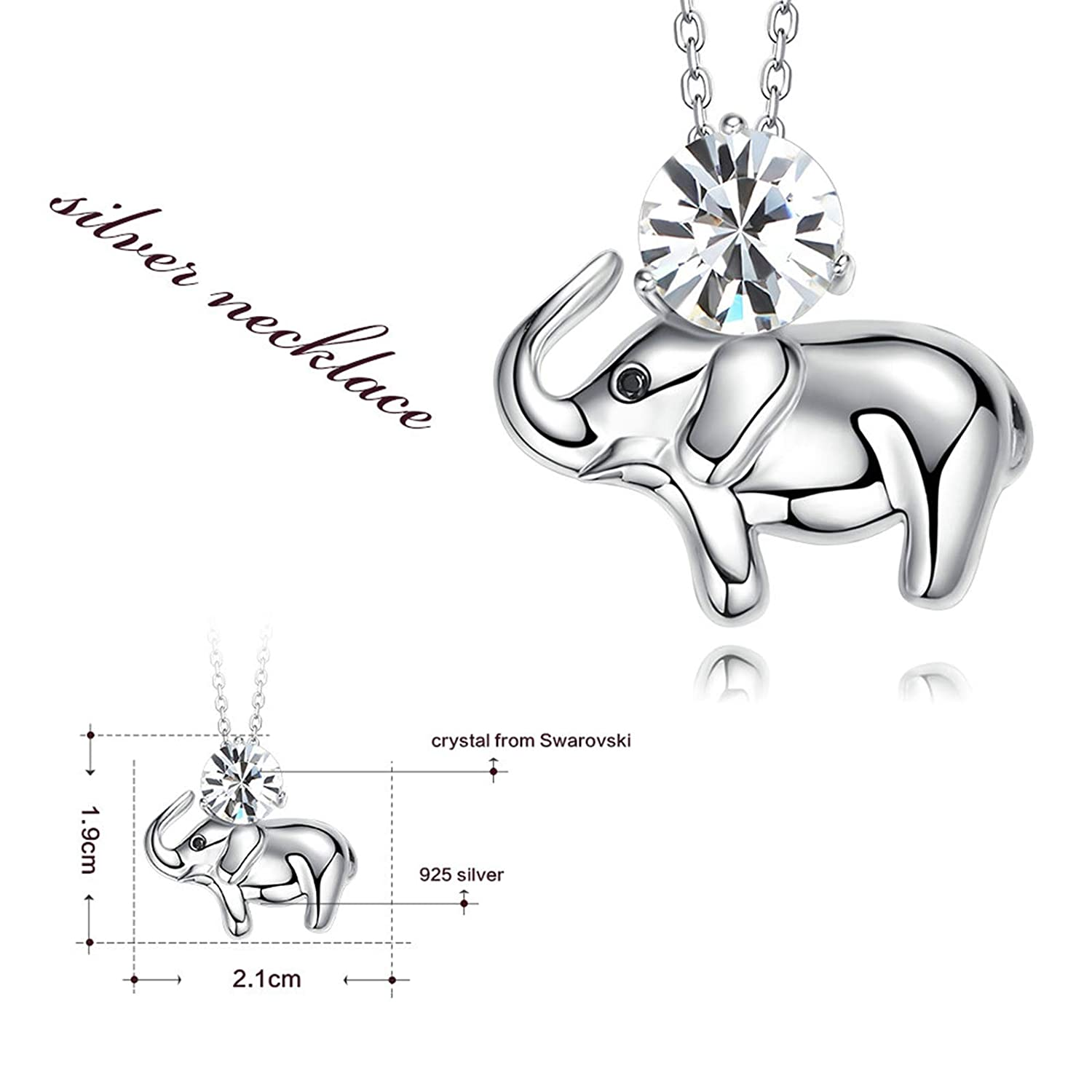 Adisaer Crystal Necklace Citrine Sterling Silver Plated Round Cut White Cz Elephant Necklace for Women Girls