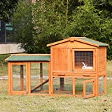 Kinbor Large Wooden Outdoor Bunny Rabbit Hutch Hen Cage Chicken Coop Ventilation Door, Removable Tray & Ramp Garden Backyard Run Area