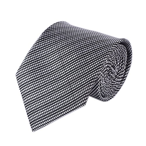 Men Classic Black and White Jacquard Woven Ties Easy-matching Wedding uk Necktie