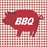 Paperproducts Design Lunch Napkin with Exquisite BBQ Pig Design, 6.5 x 6.5'', Red