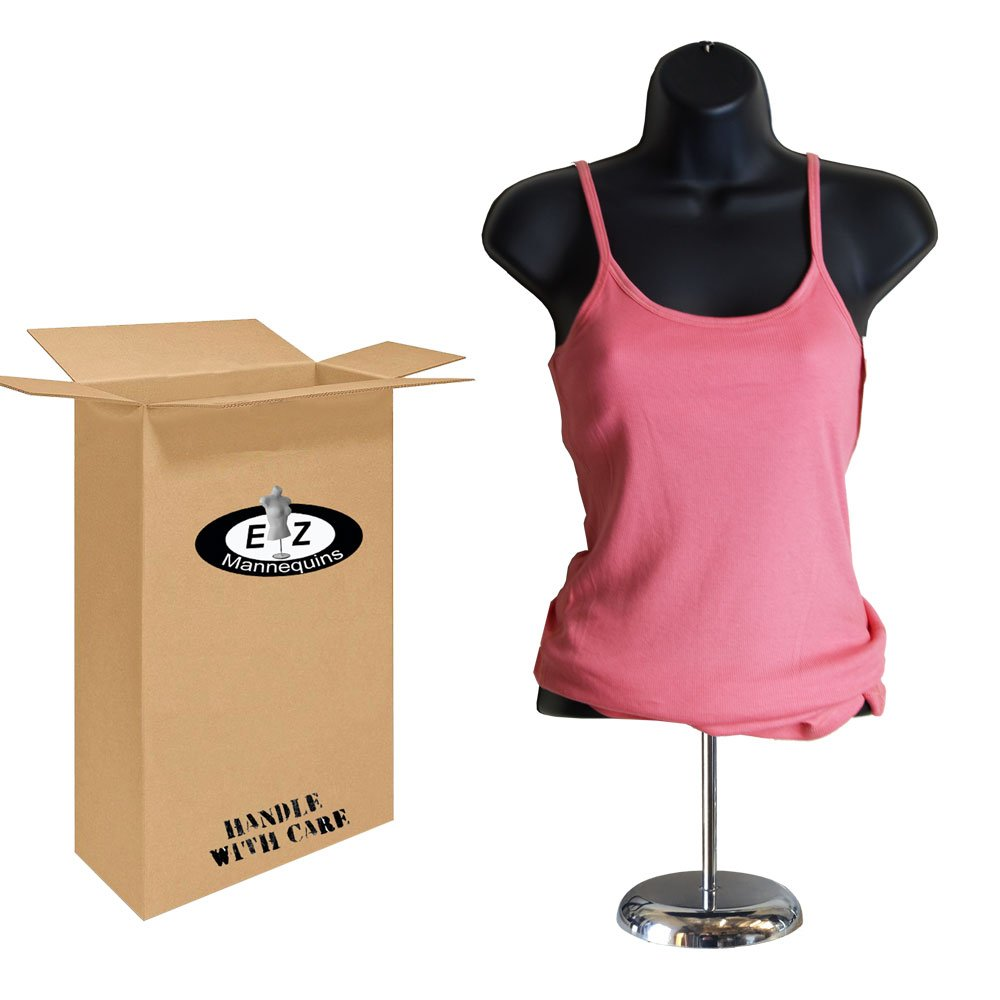 Female Mannequin Torso with Stand by EZ Mannequins, Body T Shirt Display, 8' Deluxe Metal Base, 18' to 36' H Table Top Manikin, Easy to Assembly and Transport. for Indoor Or Outdoor Displays. 8 Deluxe Metal Base 18 to 36 H Table Top Manikin