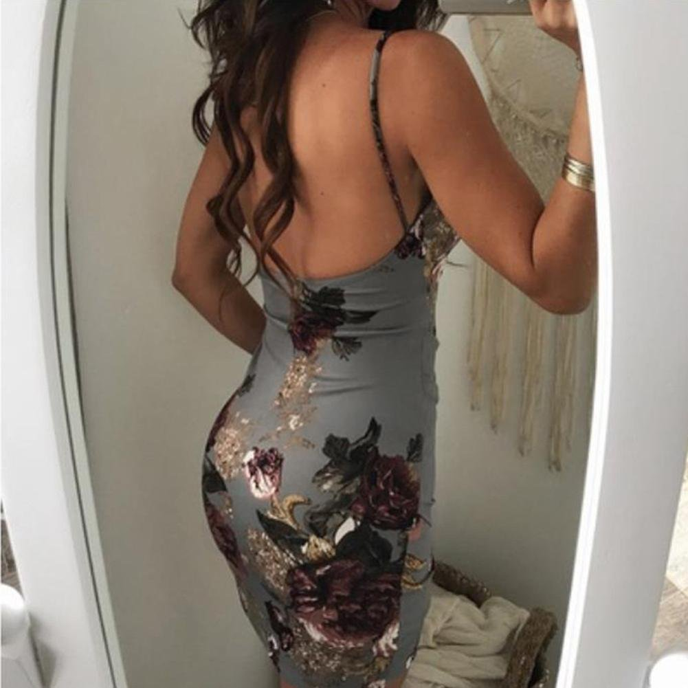 M, Red Balakie Womens Sleeveless V-Neck Halter Floral Printed Evening Party Casual Bodycon Dress