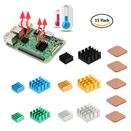 Amazon updated 8810 thermal tape raspberry pi heatsink updated 8810 thermal tape raspberry pi heatsink iuniker 15 pcs aluminum and copper ccuart Images
