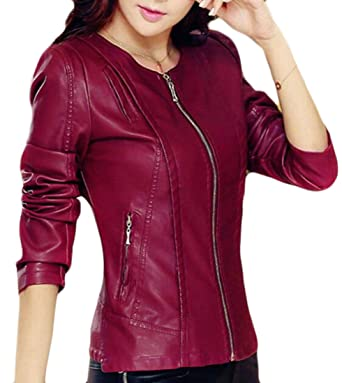 Gaga Women S Fashion Zipper Solid Color Pu Faux Leather Jacket Wine