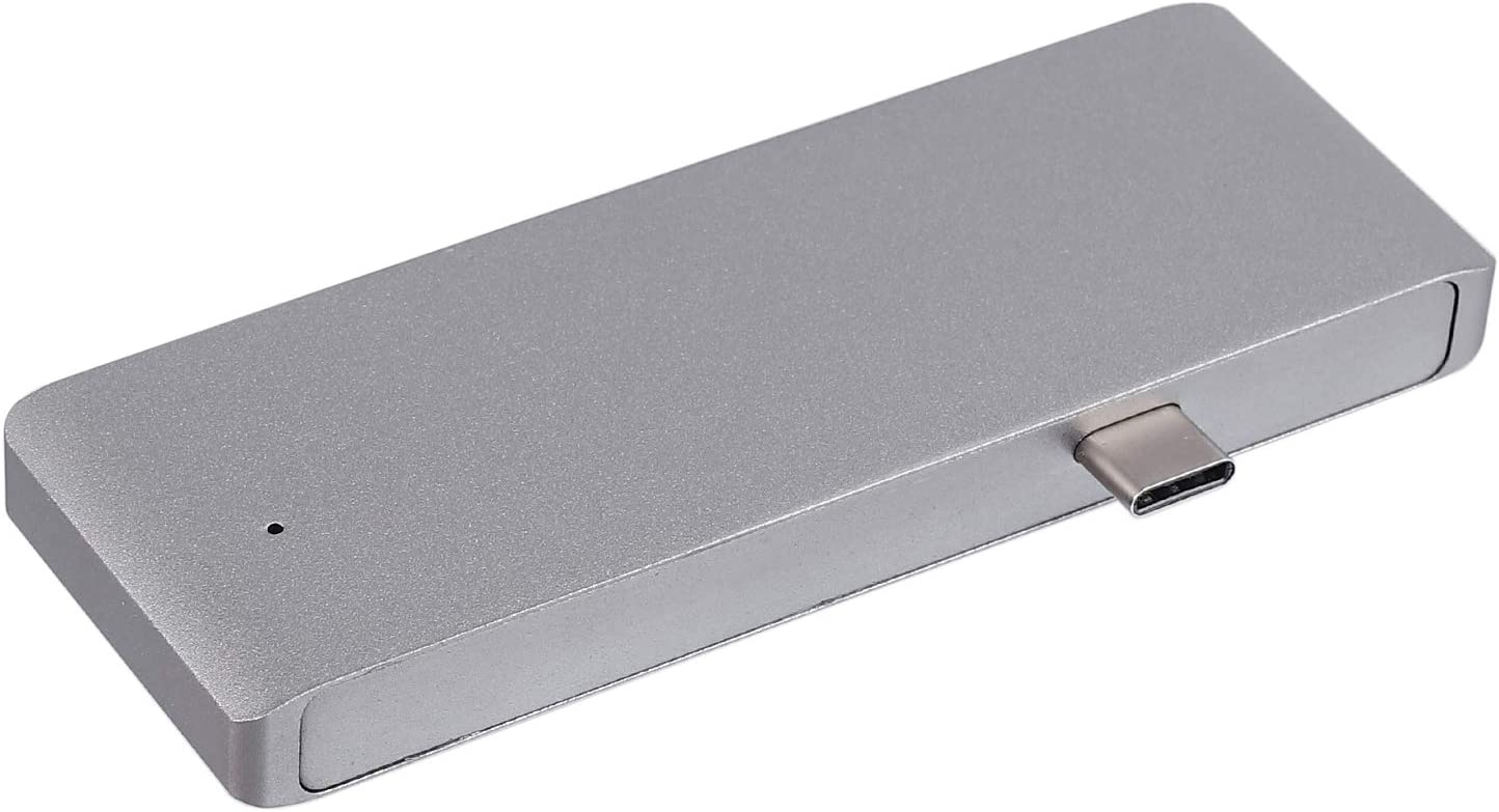 Grey Kamtop 5 in 1 Type-C Hub USB C 3.0 Multi Charging Adapter Card Reader for MacBook Pro