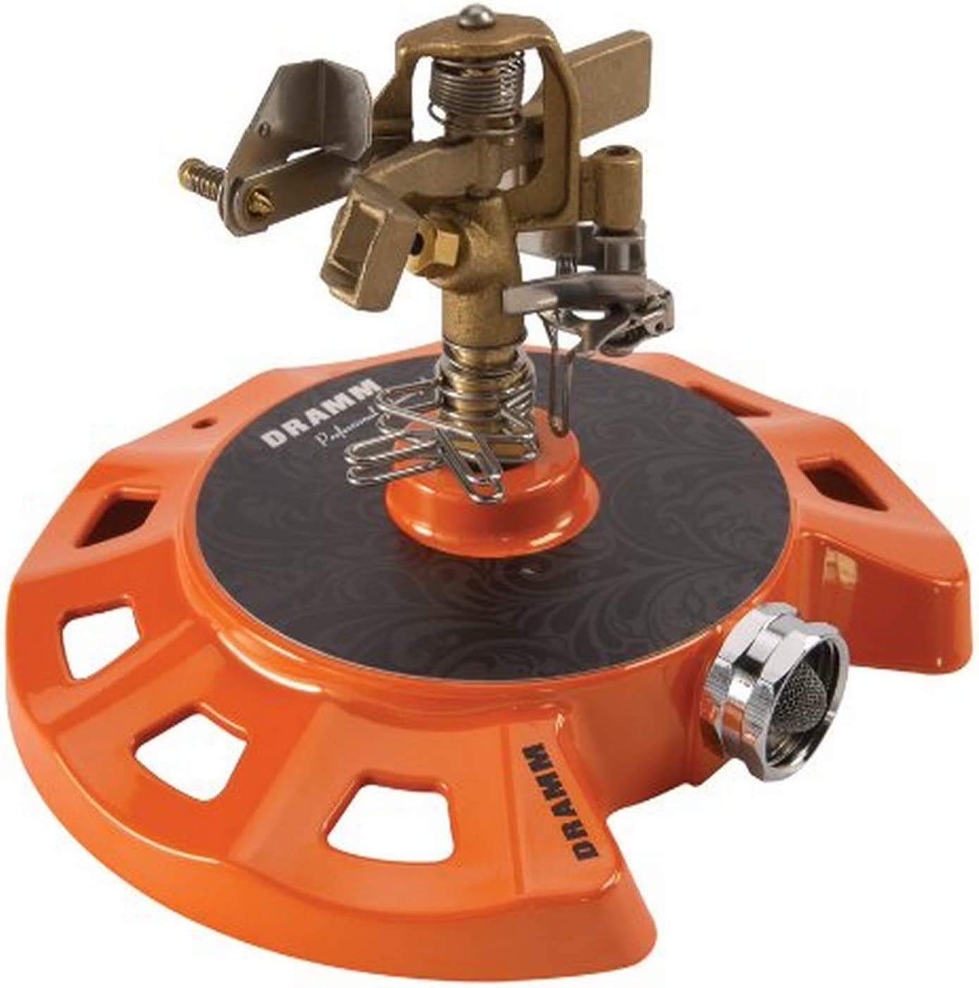 Dramm 15082 Circular Base Impulse Sprinkler with a Heavy-Duty Metal Base, Orange