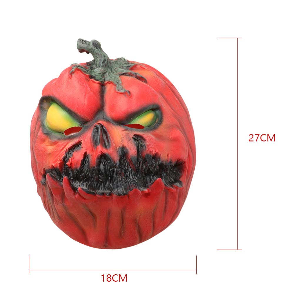 Scary Lantern Mask Pumpkin Mask Halloween Costume Party Props Latex Monster Masks for Adults (Yellow)