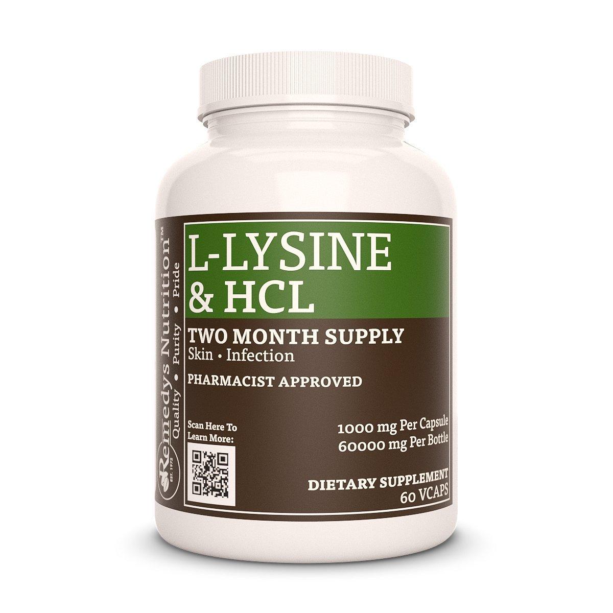L-Lysine HCL Remedys Nutrition MEGA STRENGTH Vegan 1000 mg per capsule/ 2000 mg daily/ 60.000 mg per bottle vcap