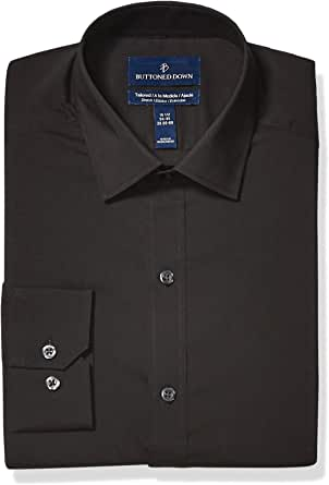 Amazon Brand - Buttoned Down Men's Tailored Fit Performance Tech Stretch Dress Shirt, Supima Cotton Easy Care