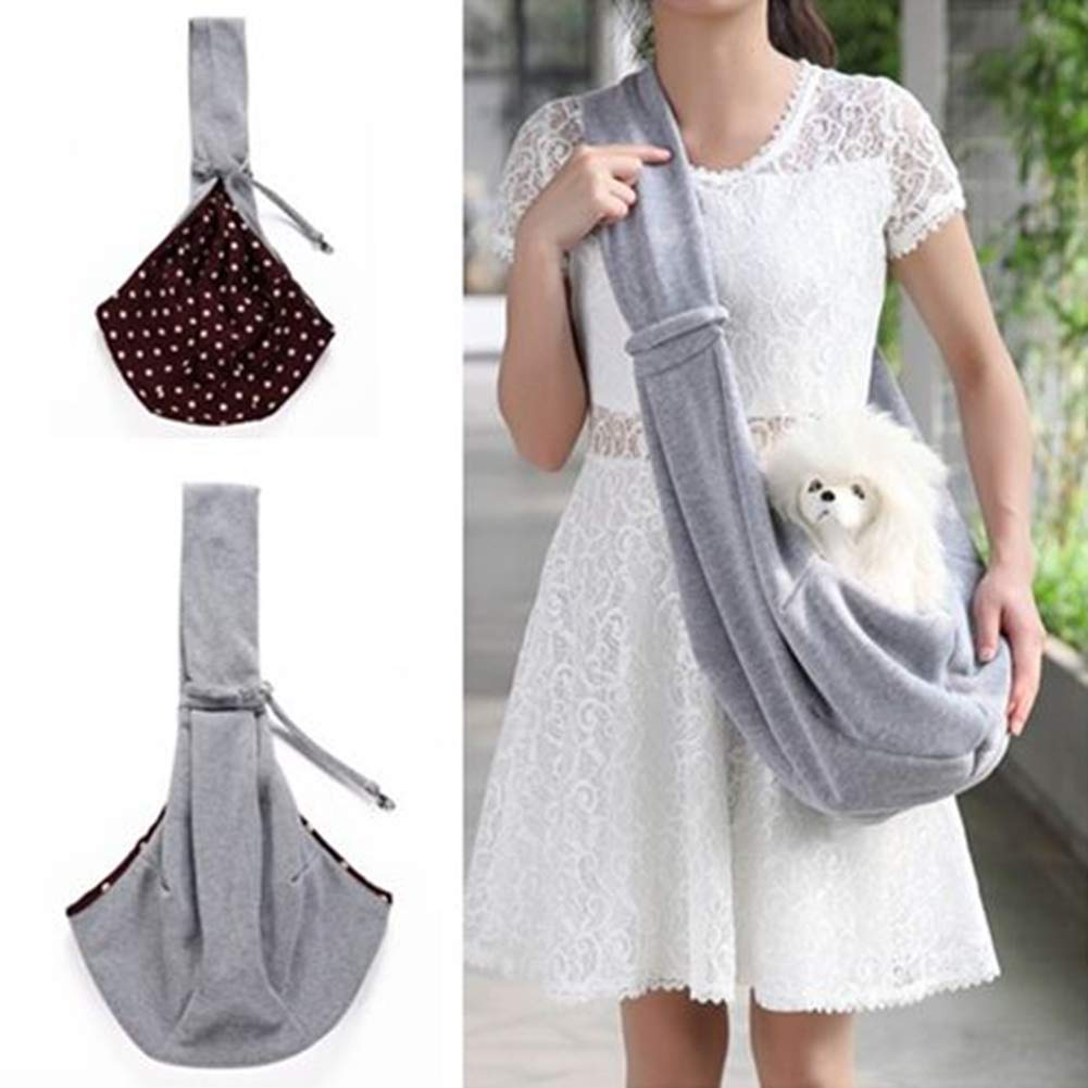 HWX Reversible Pet Sling Carrier Hands-Free Sling Pet Dog Cat Carrier Bag Soft Comfortable Puppy Kitty Rabbit Double-Sided Pouch Shoulder Carry Tote Handbag,Gray,M