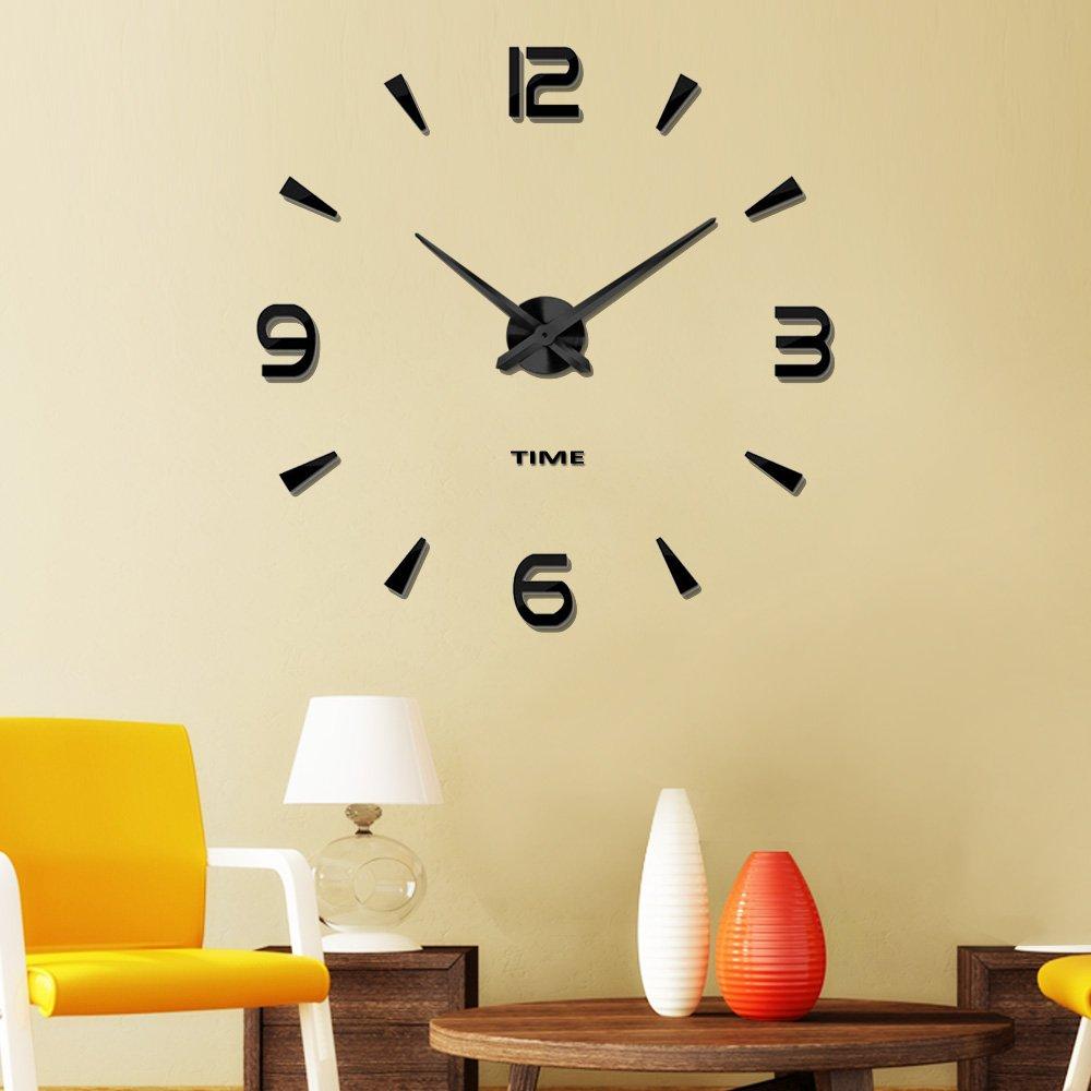 Amazon.com: Vangold Large 3D DIY Wall Clock Modern Number Clock ...