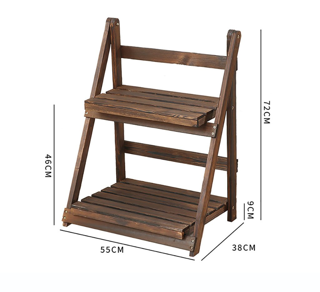 NYDZDM Solid Wood Ladder Multi-Layer Folding Flower Stand 38cm55cm72cm