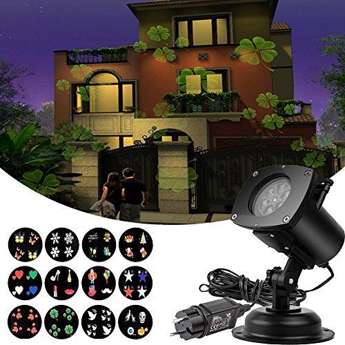 [Projector Lights 12 Pattern Gobos Garden Lamp Lighting Waterproof Sparkling Landscape Projection Light for Decoration Lighting on Christmas Halloween Holiday] (Halloween Lighting)
