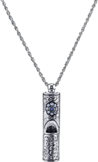 """product image for 1928 Vintage Inspired Silver Tone Pewter Whistle Pendant Necklace with Crystal Flower 28"""""""
