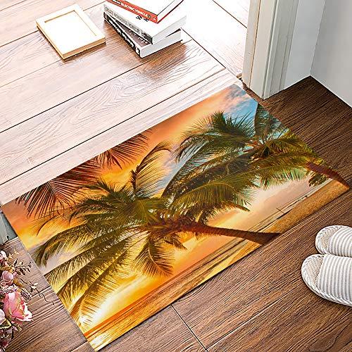 ALAGO Tropical Beach Palm Trees Sunrise Doormats Entrance Front Door Rug Outdoors/Indoor/Bathroom/Kitchen/Bedroom/Entryway Floor Mats?Non-Slip Rubber,Low-Profile