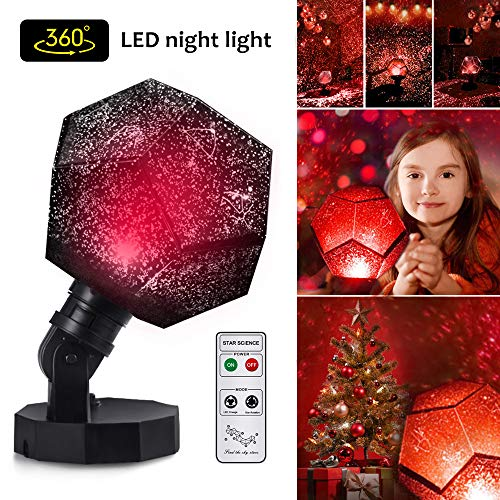 Sunnec Star Lighting Lamp, 3 Colors Romantic Constellation Lamp Relaxing 360 Degree Mood Light Sleeping Aid Ceiling Projector Sleep Night Light Lamp with USB Cables