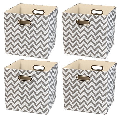 Fabric Storage Bins - Foldable Basket Cubes Organizer Boxes Containers Drawers (11/4pcs, Grey waves)