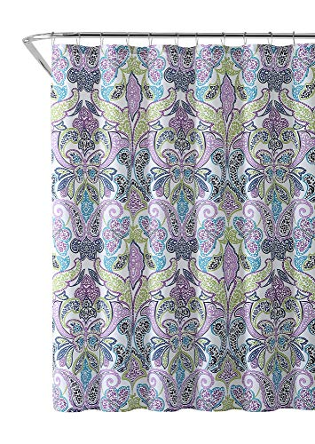 VCNY Home Fabric Shower Curtain: Bright Paisley Leaf Design in Butterfly Composition (Turquoise, Purple, Lime Green)