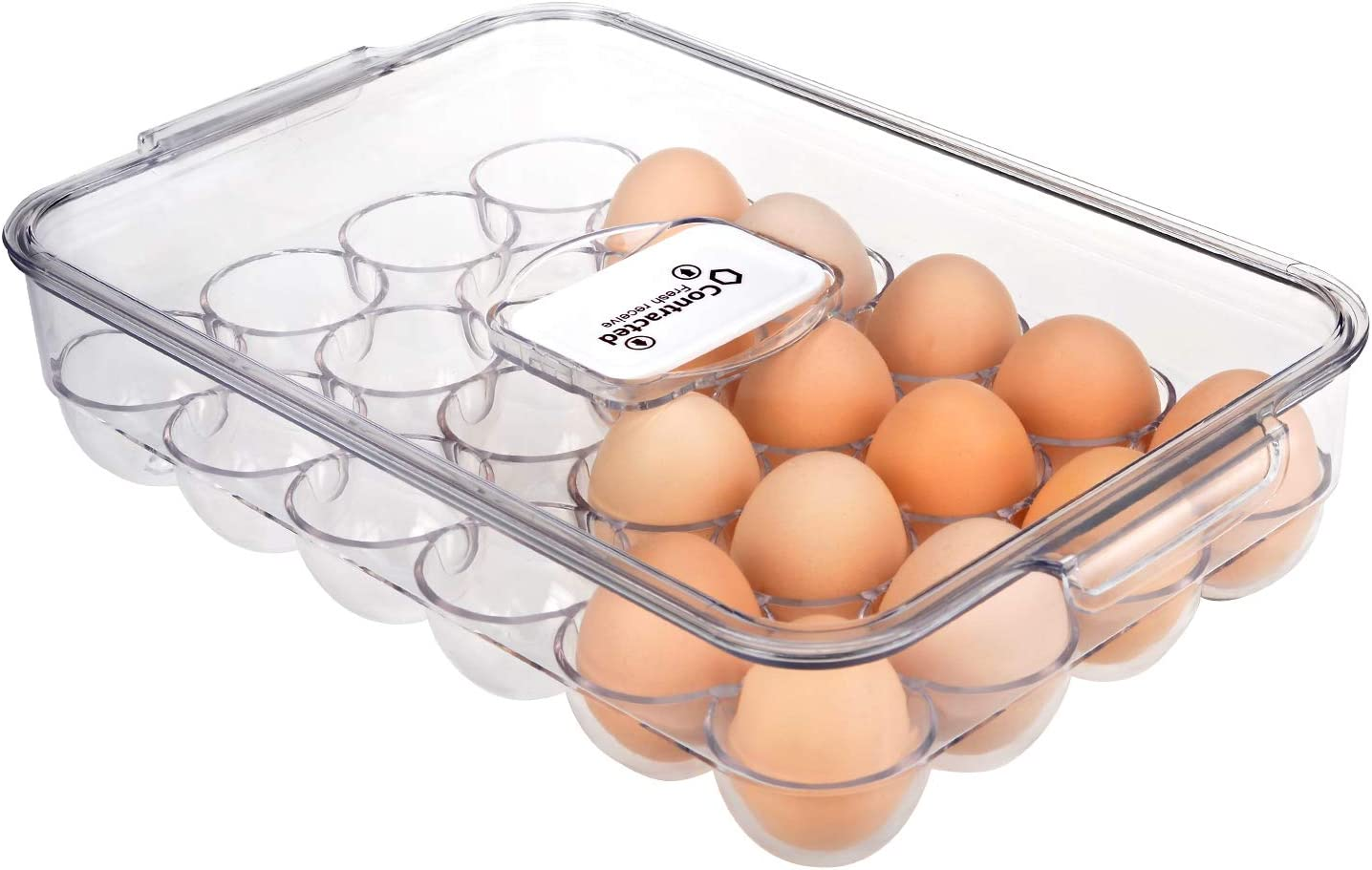 Ambergron 24 Eggs Holder for Refrigerator, Plastic Egg Containers Organizer for Fridge Kitchen Countertop, BPA-Free, Clear