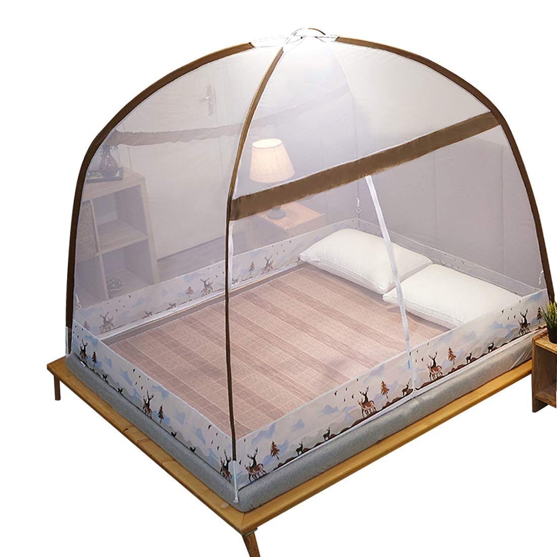 Fcyylight Net Moustiquaire Pliant Tendez pour Lit Maison Chambre Pique-Nique en Plein Air 2 Ouvertures