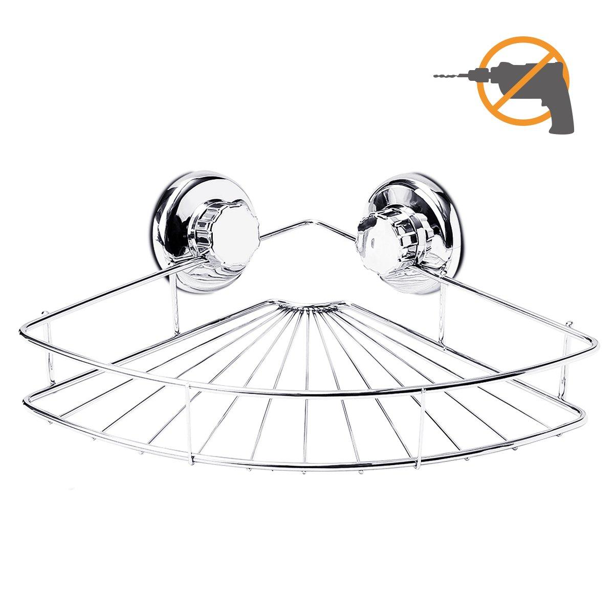 Shower Corner Caddy, TAPCET Shower Shelf Bathroom Shelf Shower Corner Basket with Suction Cup, Wall Mounted Shower Caddy Stainless Steel Bath Shelf, Polished Chrome