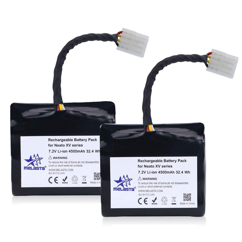 MELASTA 7.2V 4500mAh Lithium-ion Batteries for Neato XV Series XV-21 XV-11 XV-12 XV-14 XV-15 XV-25 XV Essential Signature Pro Robotics Vacuum Cleaner (Set of 2)
