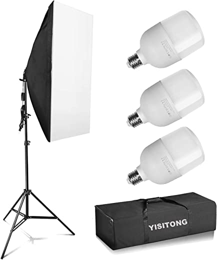 "YISITONG Photography Continuous Softbox Lighting Kit 20""x 28"" Professional Photo Studio Equipment with 3X 25W LED E26 Socket 5500K Video Lighting Bulb for Filming Portraits Shoot"