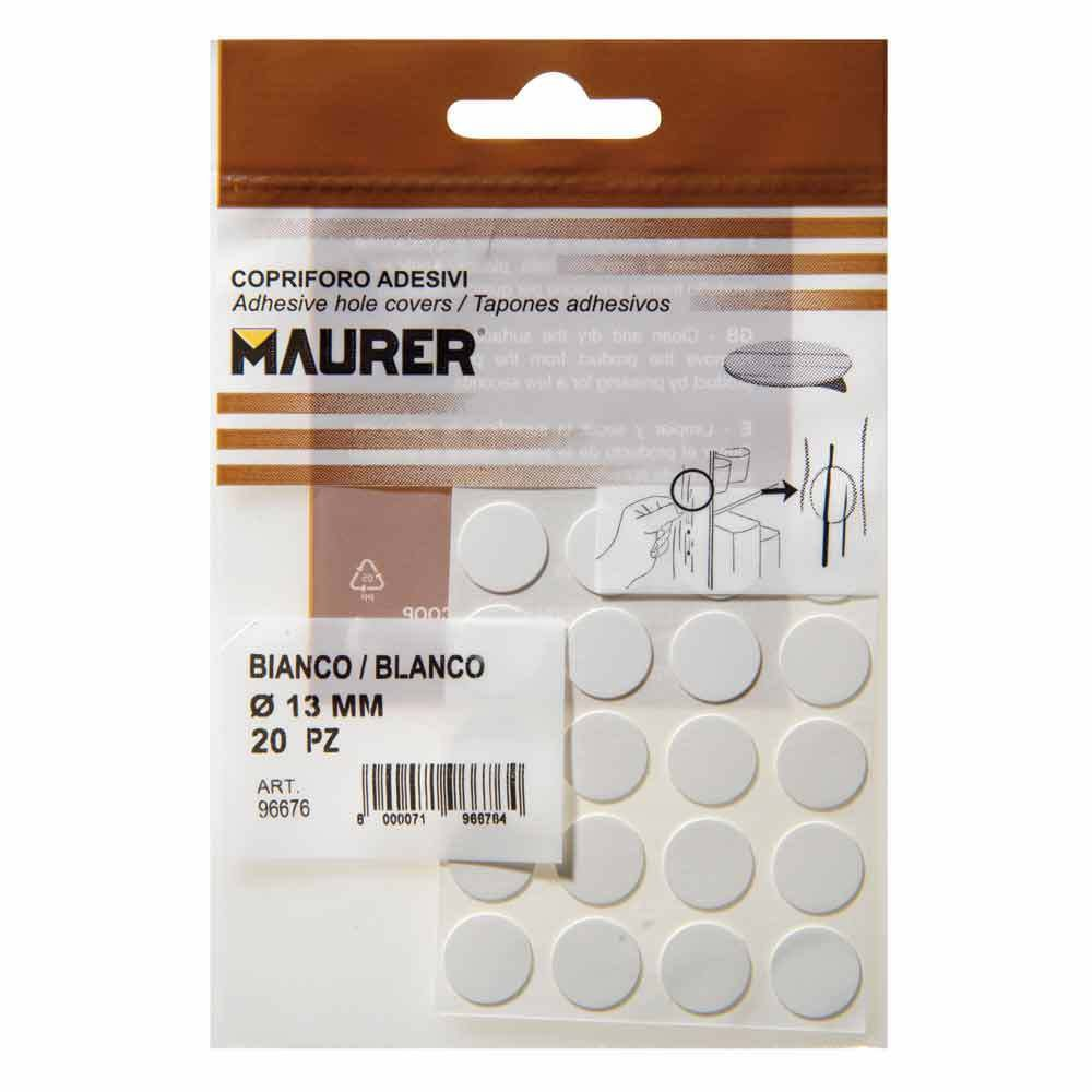 MAURER 5440100 - White Adhesive Stickers (Blister Pack of 20)