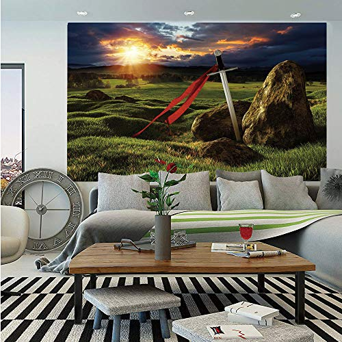 SoSung King Removable Wall Mural,Arthur Camelot Legend Myth in England Ireland Fields Invincible Sword Image,Self-Adhesive Large Wallpaper for Home Decor 66x96 inches,Green Blue and Red