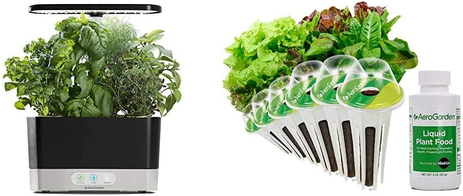 AeroGarden Black Harvest Indoor Hydroponic Garden, 2019 Model & Heirloom Salad Greens Seed Pod Kit, 6