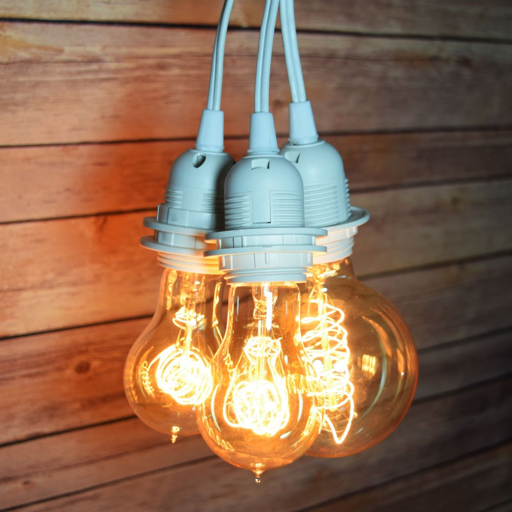 Fantado Triple Socket White Pendant Light Lamp Cord for Lanterns, 19 FT by PaperLanternStore by Fantado
