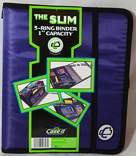 Case-it The Slim 1'' Capacity 3-Ring Binder with Built-in Expandable Tab File, 1 Count, Purple (SLIM-630-FN)