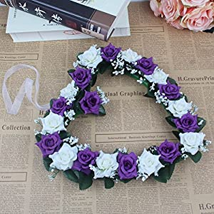 Lanlan Heart Rose Wreath for Wedding Decorations Home Decorations Door Decorations Living Room Hanging Flower White-purple 1PCS 3
