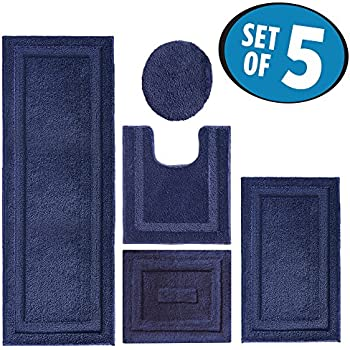 Amazon Com Blue Bathroom Rug Set 4 Pc Home Amp Kitchen