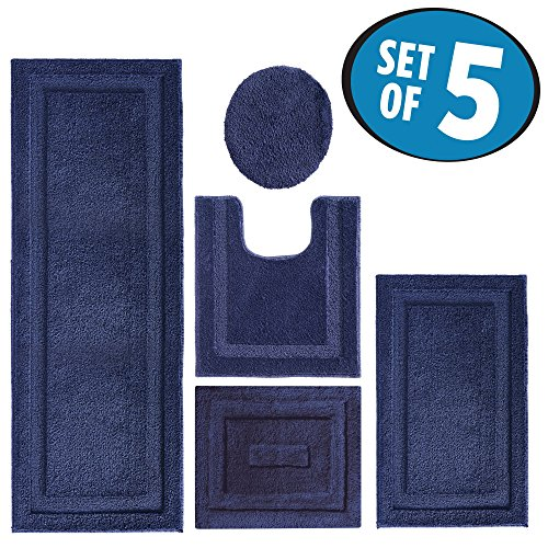 mDesign Contour, Toilet Seat Cover, and Bathroom Mat Combo Pack - Set of 5, Navy