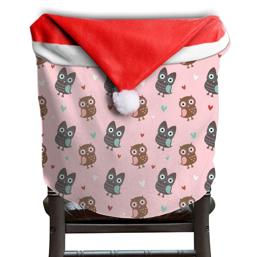 Owl Animal Christmas Chair Covers Modern Design DURABLE Santa Hat Chair Covers For Adult Chair Back Covers Holiday Festive by ChengGo