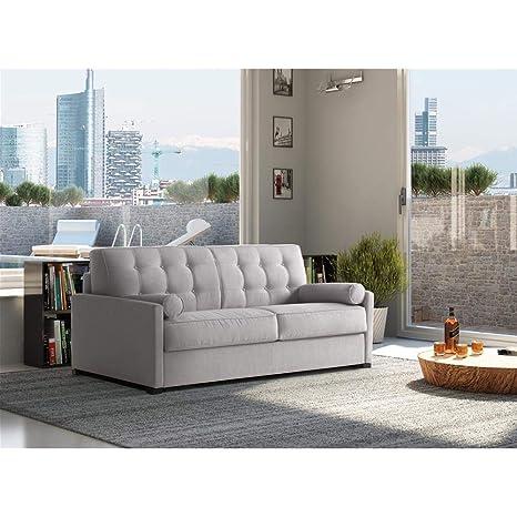 Sofá 3 plazas Portofino, tapizado de Microfibra Gris Claro, colchón de Espuma de Poliuretano