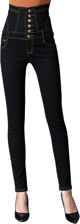 Womens Skinny High Waist Denim Jeans Pants Slim Fit  Button Treggings Trousers