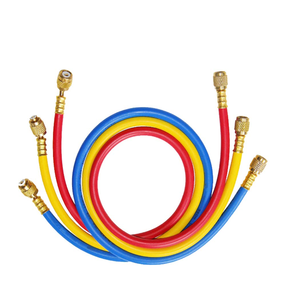 2500~500 Beduan 3pcs PSI 1//4 SAE x 36 Length 3 Color AC Charging Hose Set for HVAC Air Condition Refrigerant R12 R22 R502