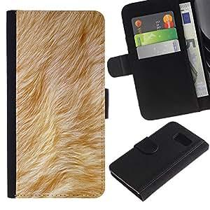 KingStore / Leather Etui en cuir / Samsung Galaxy S6 / Beige Animal del perro amarillo de la piel
