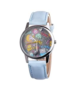 Vavna New Cool Fashion Animal Paradise Print Leather Unisex Analog Watch w/Free Gift Pouch (Blue)