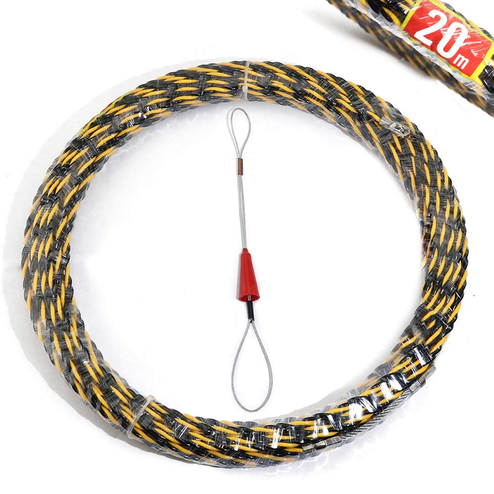 Boeray 6.5mmx20m(65.6FT) 3 Core Braid Nylon Electrical Fish Tape Reel, Great for Pull Line, Long Runs