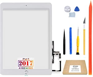 "JPUNG for iPad 5 5th Gen Touch Screen Digitizer Replacement 2017 9.7"", Only for 5th Generation A1822 A1823, with Home Button (No Touch IC), Full Repair Kit, Pre-Installed Adhesive"