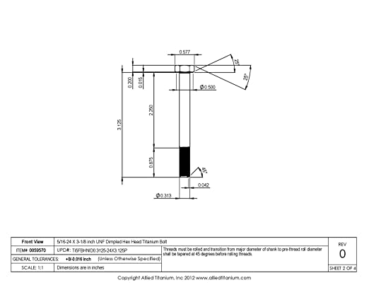 1033906001 Pack of 2 Inc 5//16-24 X 3-1//8 inch UNF Titanium Hex Head Bolt Grade 5 Allied Titanium 0059570, Ti-6Al-4V