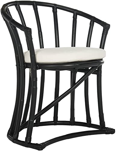 Safavieh Home Collection Bates Black Rattan Accent Chair with Cushion