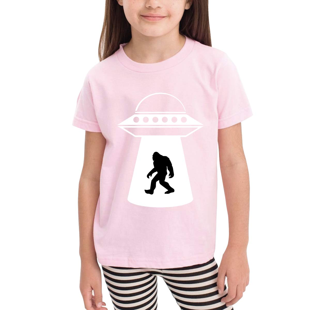 UFO Bigfoot Childrens Cotton Pink Short Sleeve T-Shirt for Girl