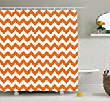 Chevron Shower Curtain Decor by Ambeosnne, Pumpkin Color Chevron Traditional Holidays Autumn Celebrate Image Pattern, Polyester Fabric Bathroom Shower Curtain Set with Hooks, Orange White