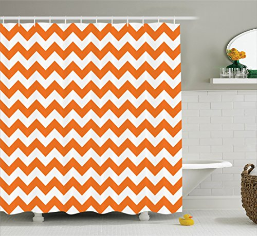 Chevron Shower Curtain Decor by Ambeosnne, Pumpkin Color Chevron Traditional Holidays Autumn Celebrate Image Pattern, Polyester Fabric Bathroom Shower Curtain Set with Hooks, Orange White (Pattern Chevron Curtains)
